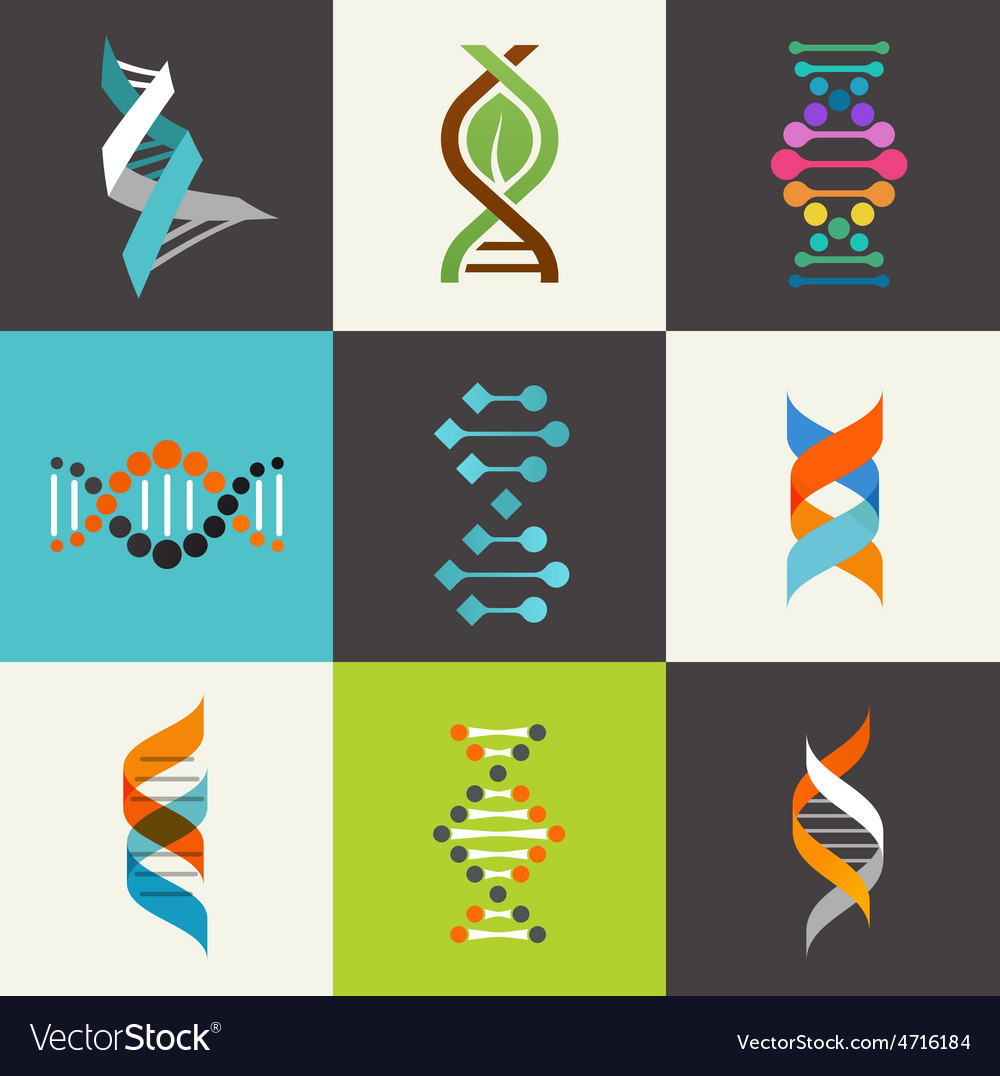 Dna genetic elements and icons collection vector | Price: 1 Credit (USD $1)