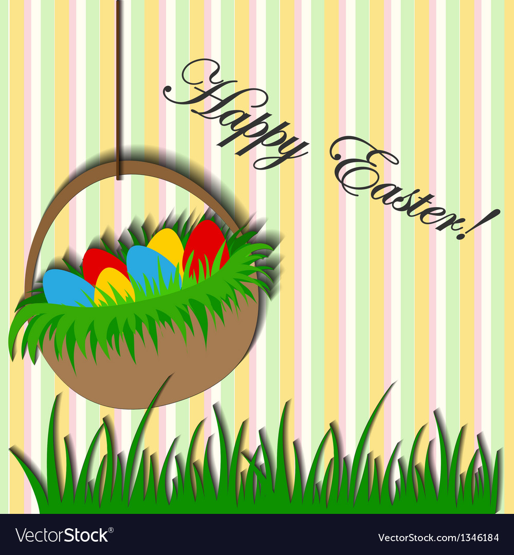 Easter background with basket sticker vector | Price: 1 Credit (USD $1)