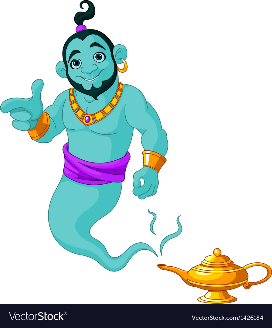 Genie granting the wish vector | Price: 3 Credit (USD $3)