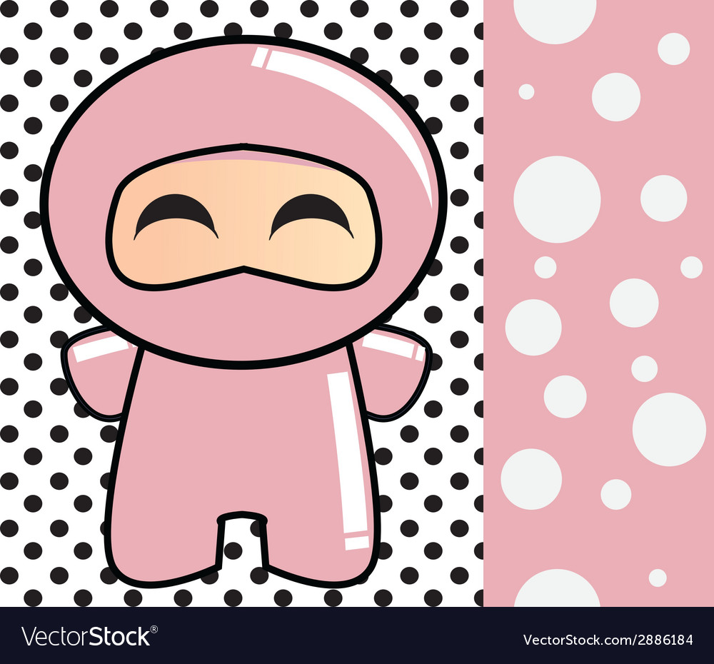Happy birthday card with cute cartoon ninja vector | Price: 1 Credit (USD $1)