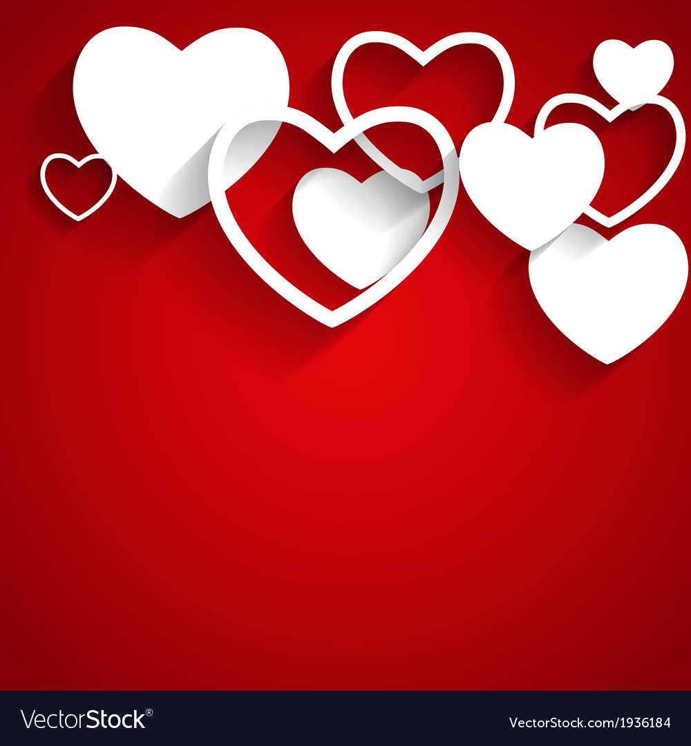 Happy valentines day card with heart flat vector | Price: 1 Credit (USD $1)