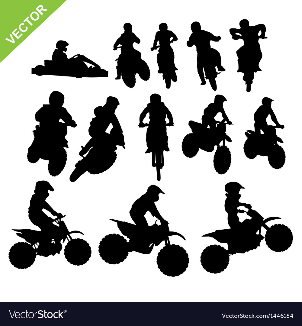Motorcross silhouettes vector | Price: 1 Credit (USD $1)
