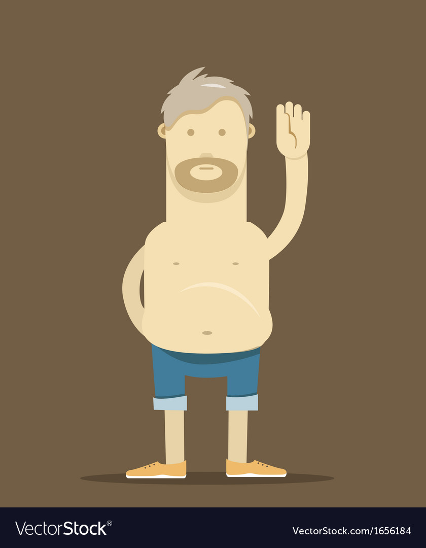 The old drunk man say hello vector | Price: 1 Credit (USD $1)