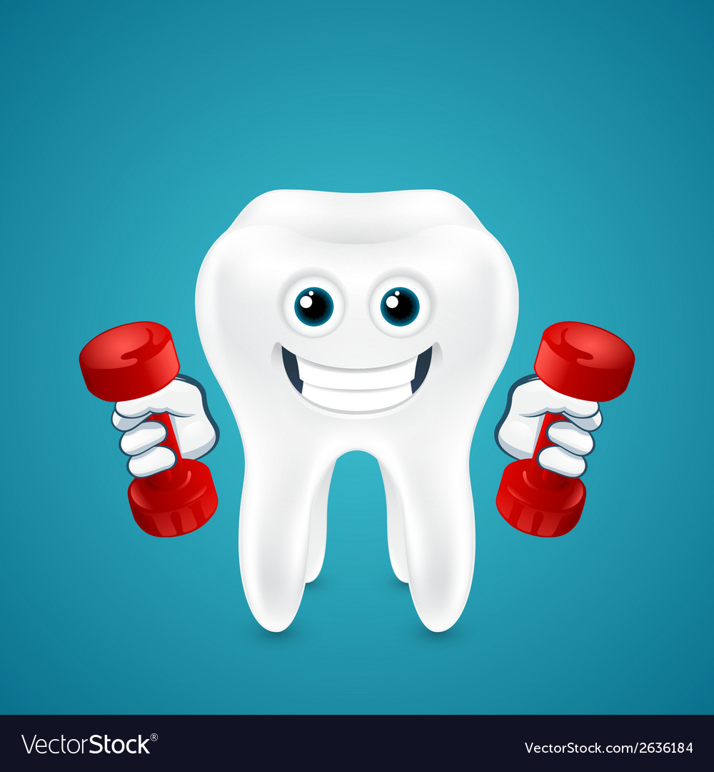 Tooth doing exercises with dumbbells vector | Price: 1 Credit (USD $1)