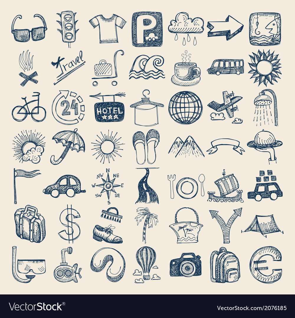 49 hand drawing doodle icon set travel theme vector | Price: 1 Credit (USD $1)