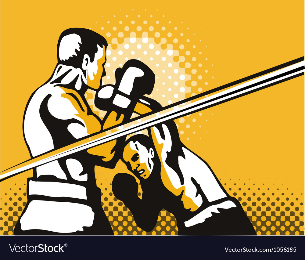Boxer boxing knockout punch retro vector | Price: 1 Credit (USD $1)
