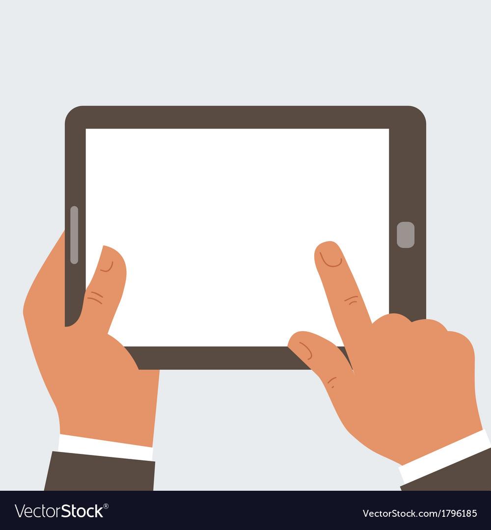 Businessman holding tablet computer vector