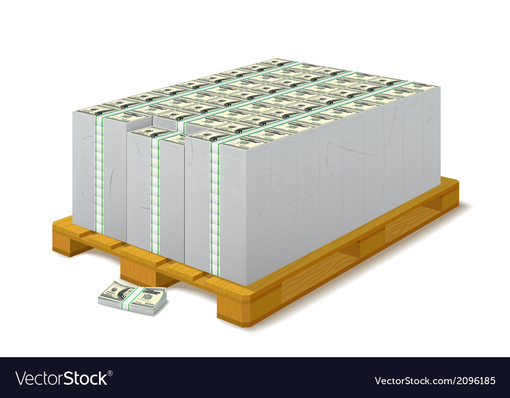 Pack of banknotes on a wooden pallet vector | Price: 1 Credit (USD $1)
