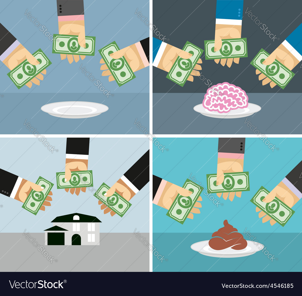 Set money and hands selling and buying a house vector | Price: 1 Credit (USD $1)