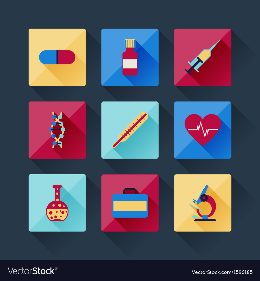 Set of medical icons in flat design style vector   Price: 1 Credit (USD $1)