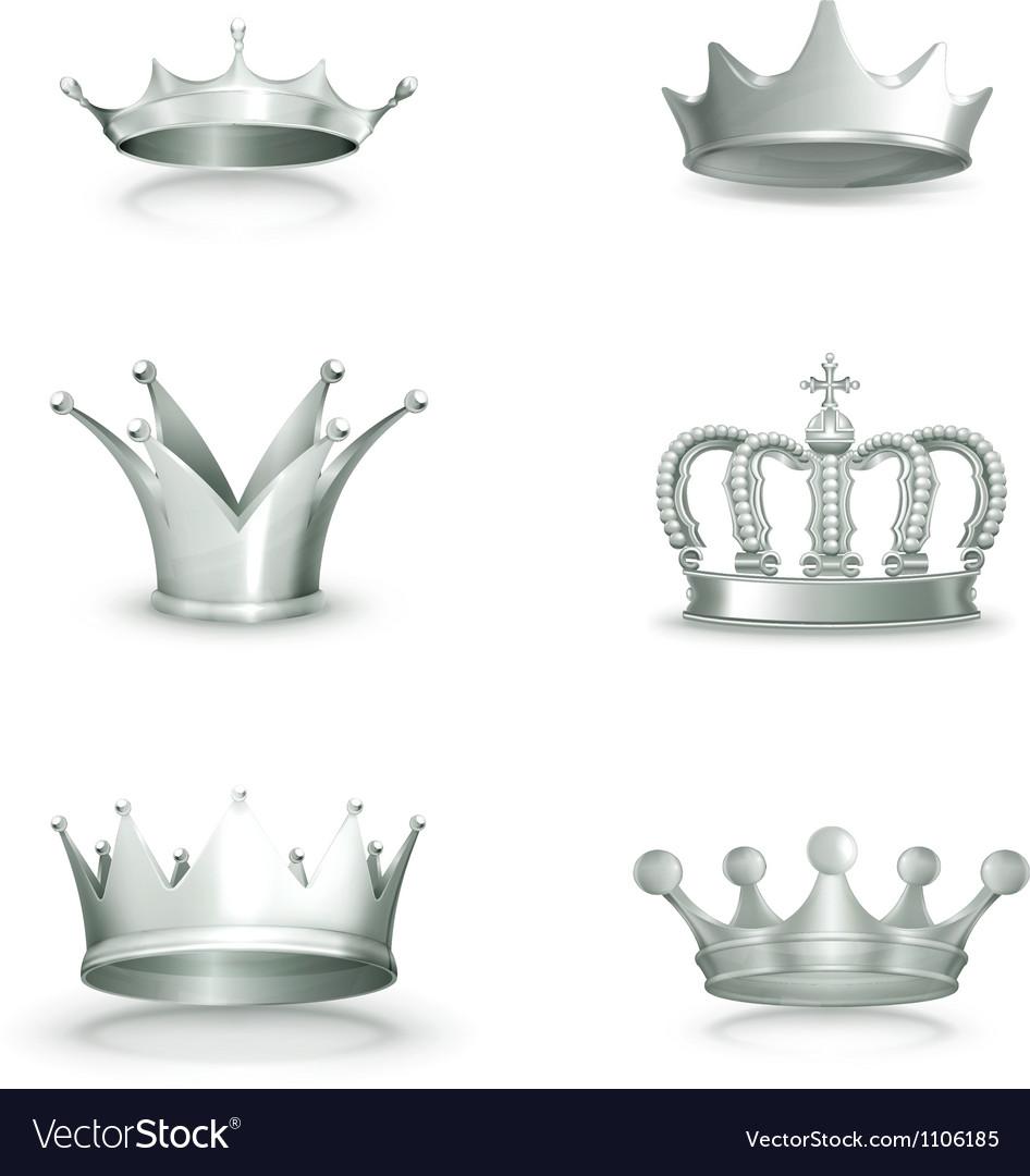 Silver crowns set vector | Price: 3 Credit (USD $3)