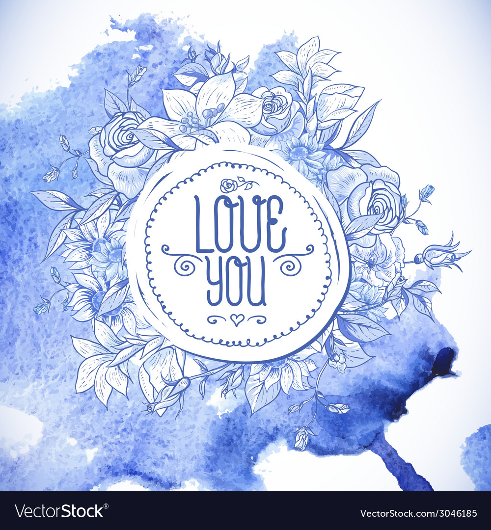 Vintage blue greeting card with flowers vector | Price: 1 Credit (USD $1)