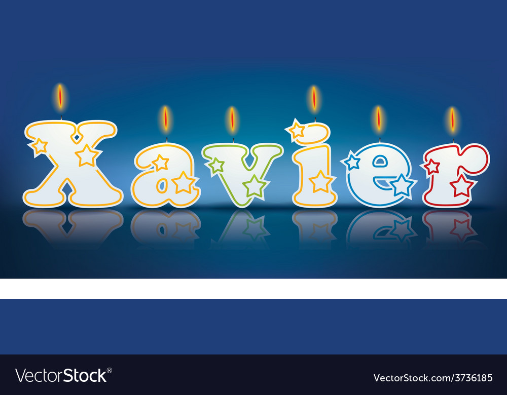 Xavier written with burning candles vector | Price: 1 Credit (USD $1)