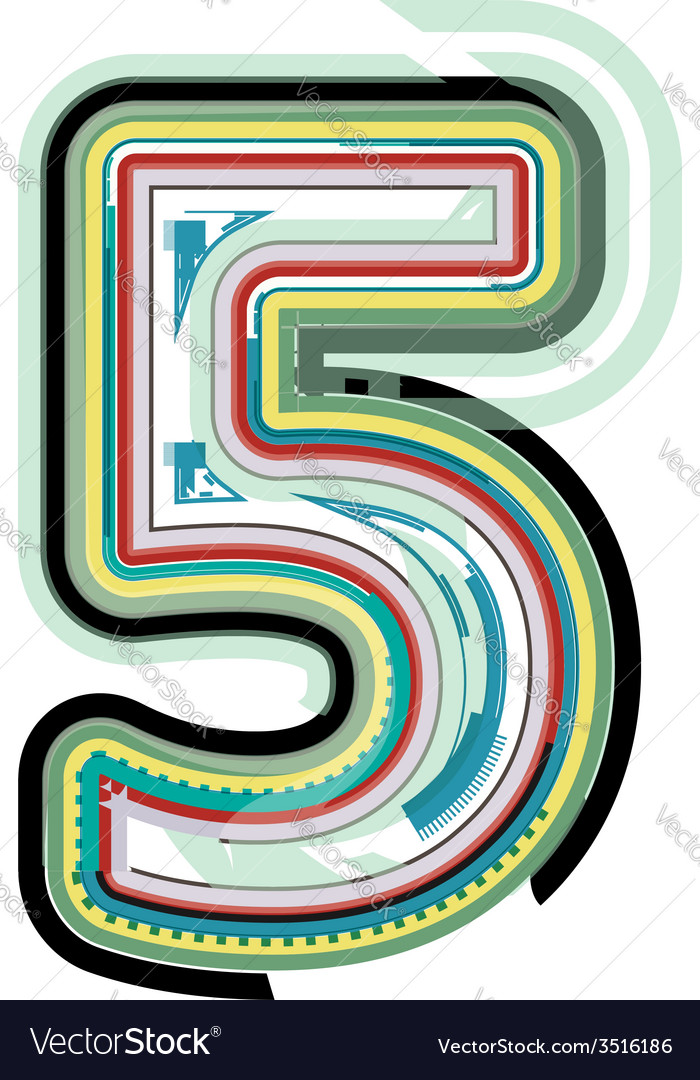 Abstract colorful number 5 vector | Price: 1 Credit (USD $1)