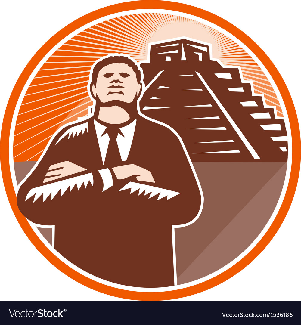 African american businessman protect pyramid vector | Price: 1 Credit (USD $1)
