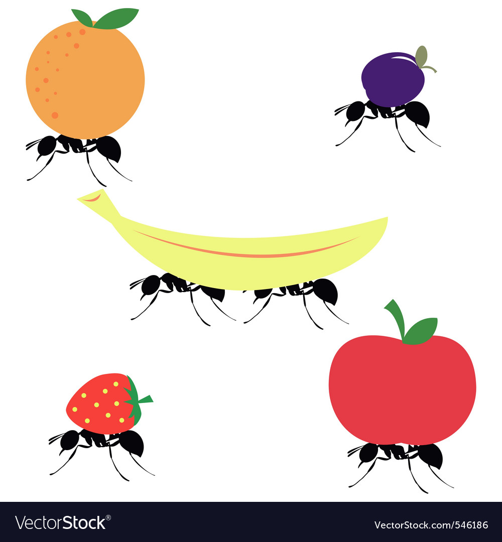 Ants carrying different fruits vector | Price: 1 Credit (USD $1)