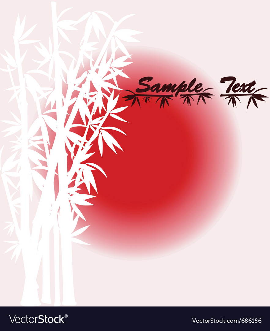 Bamboo silhouette over sun vector | Price: 1 Credit (USD $1)