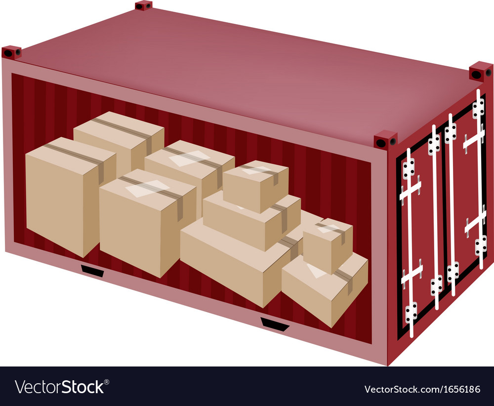 Cardboard boxes in cargo container vector | Price: 1 Credit (USD $1)