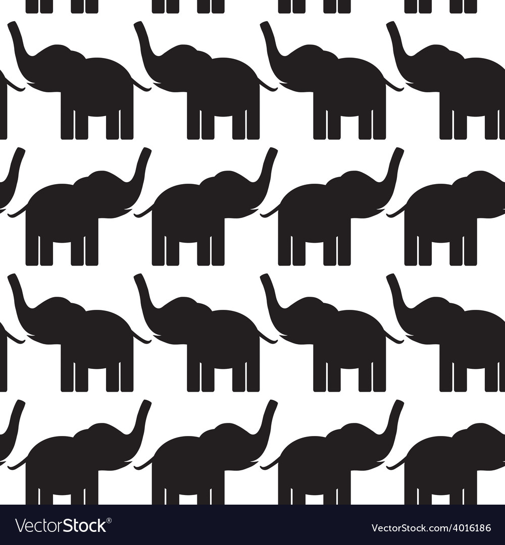 Cheerful seamless pattern with elephants black and vector | Price: 1 Credit (USD $1)