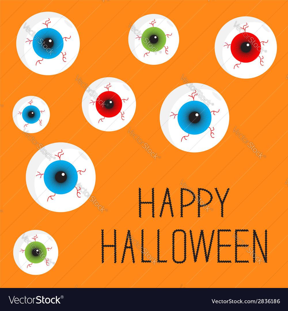 Eyeball set with bloody streaks happy halloween vector | Price: 1 Credit (USD $1)