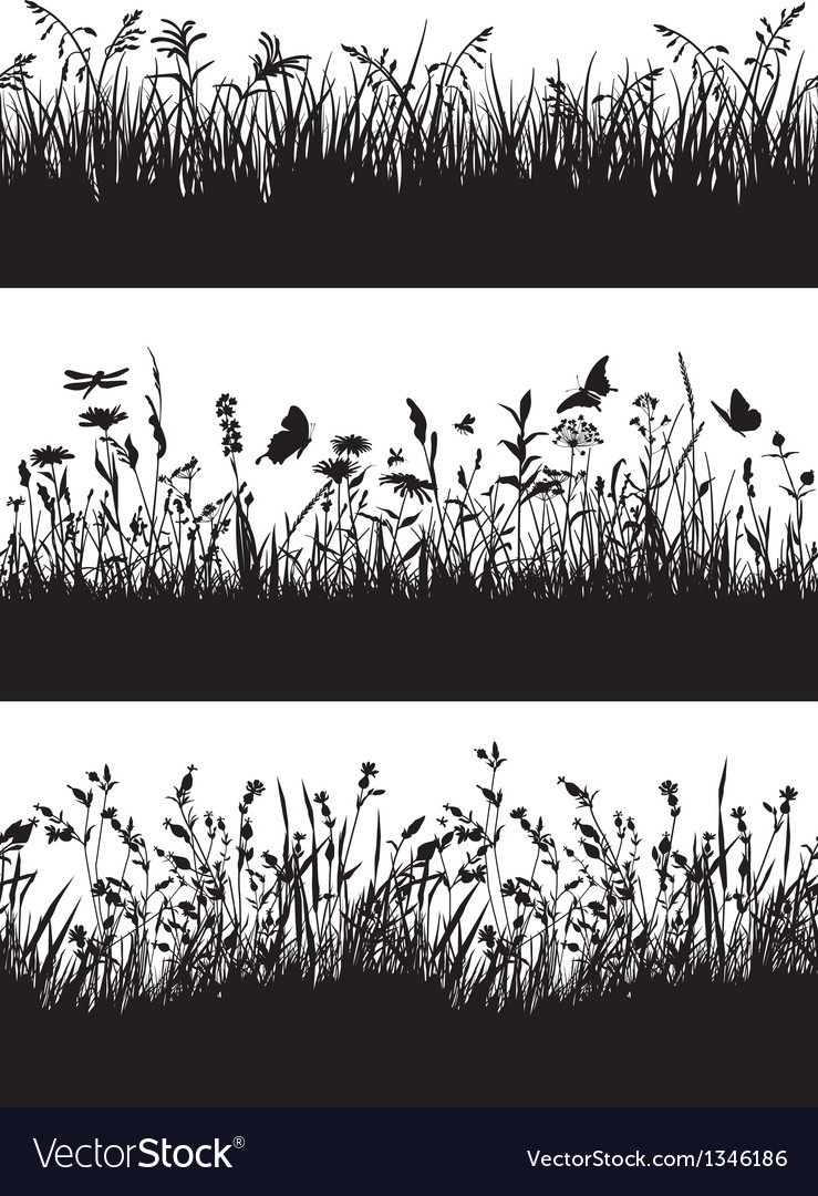 Flowery meadow silhouettes wallpaper vector | Price: 1 Credit (USD $1)