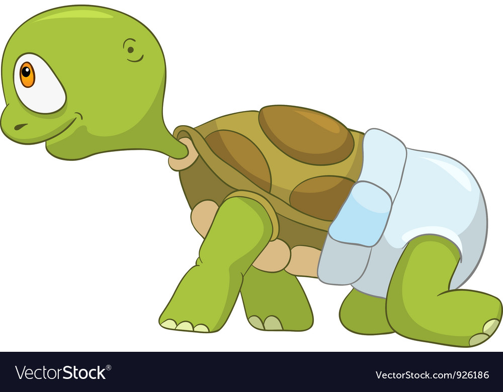 Funny turtle baby first step vector | Price: 3 Credit (USD $3)