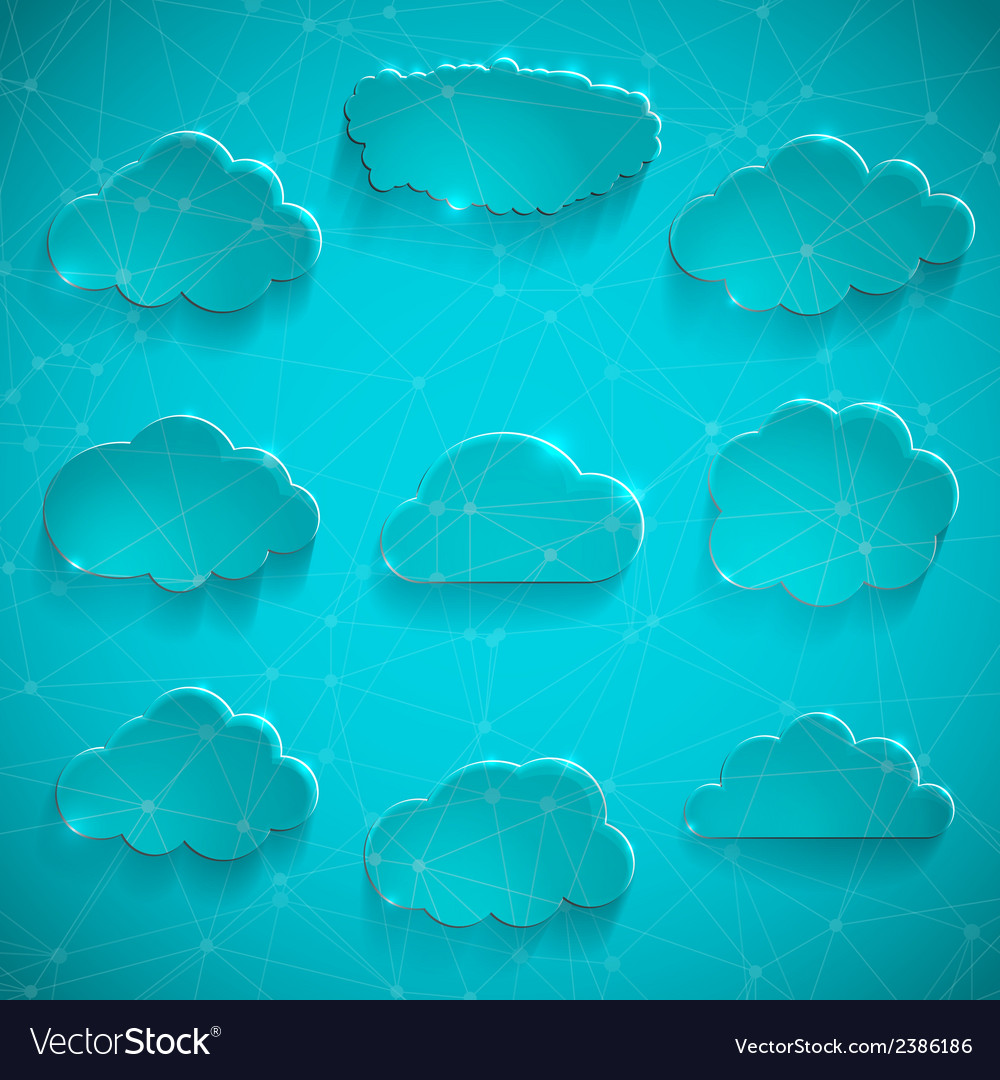 Glossy cloud storage icon set vector | Price: 1 Credit (USD $1)
