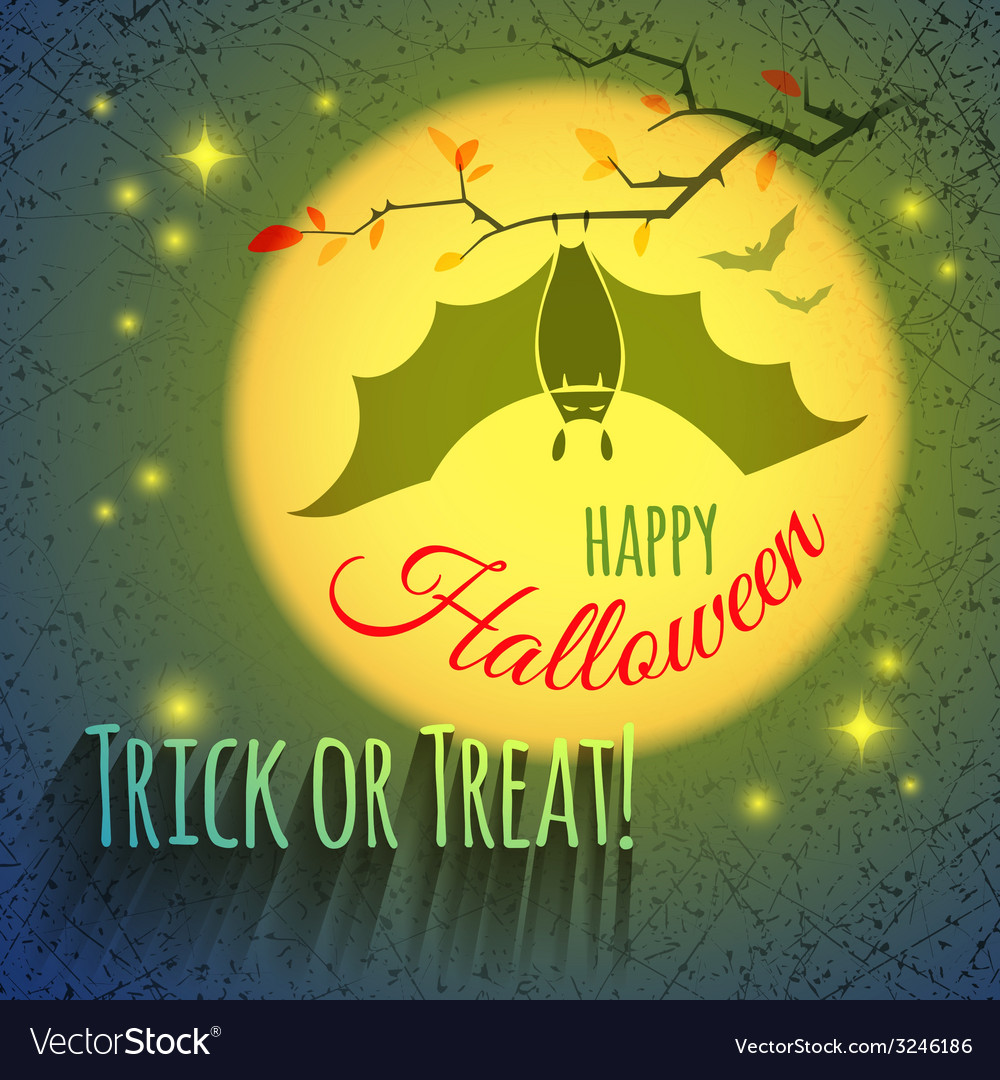 Halloween card with bat vector | Price: 1 Credit (USD $1)