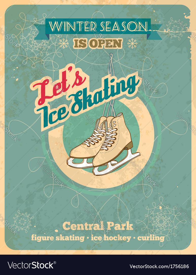 Ice skating retro poster vector | Price: 1 Credit (USD $1)