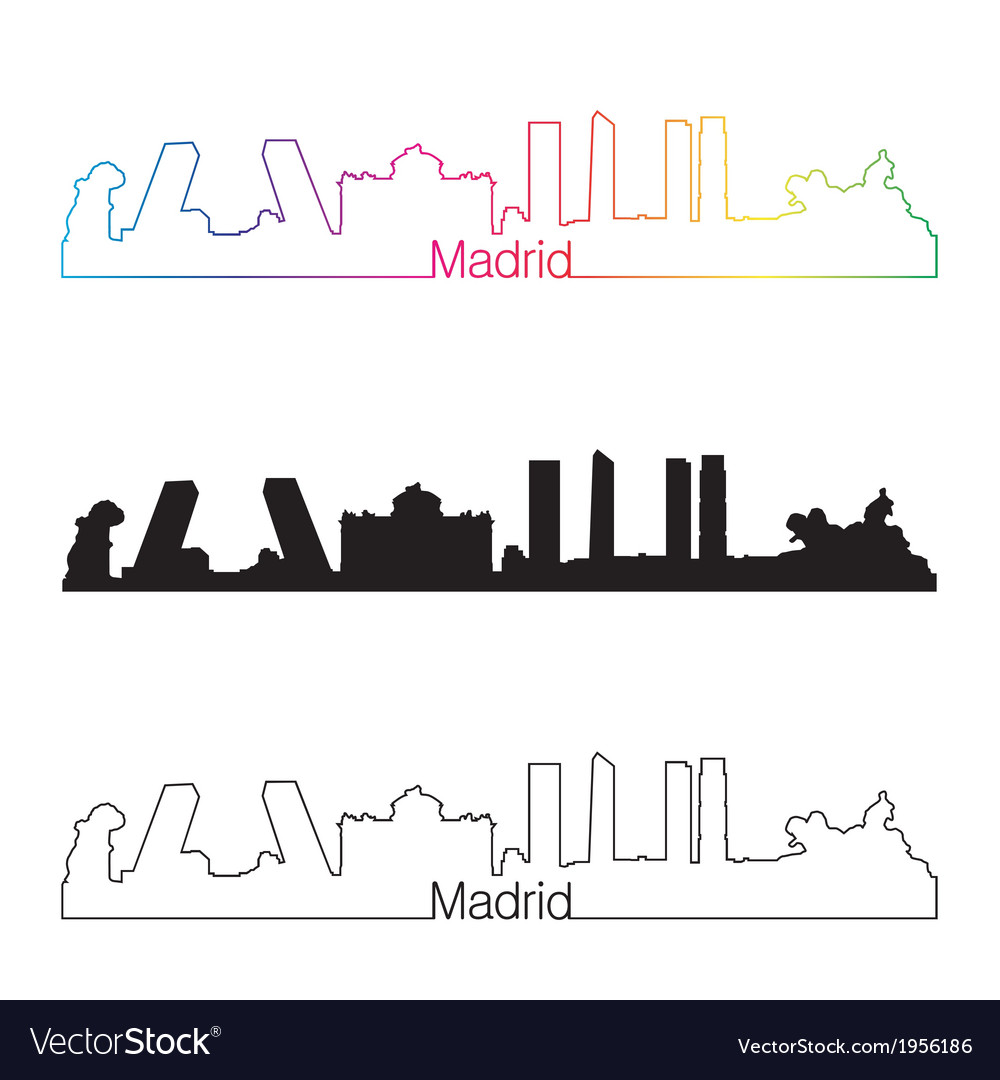 Madrid skyline linear style with rainbow vector | Price: 1 Credit (USD $1)