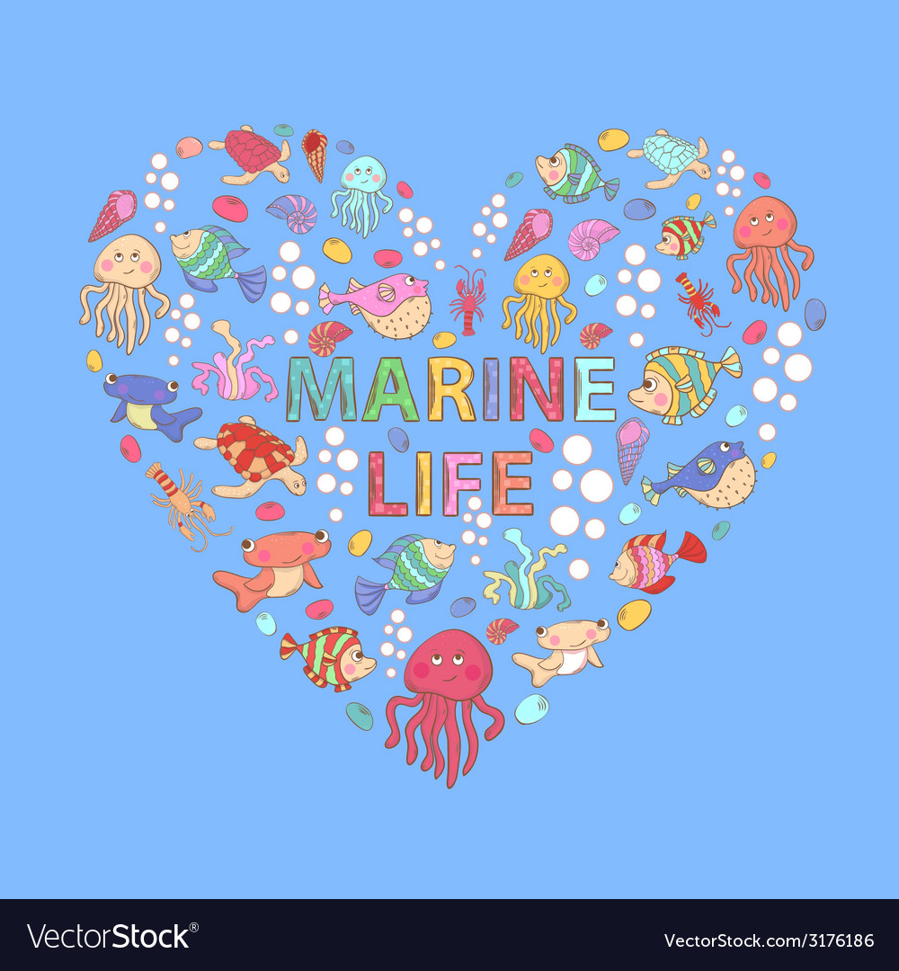 Marine life heart vector | Price: 1 Credit (USD $1)