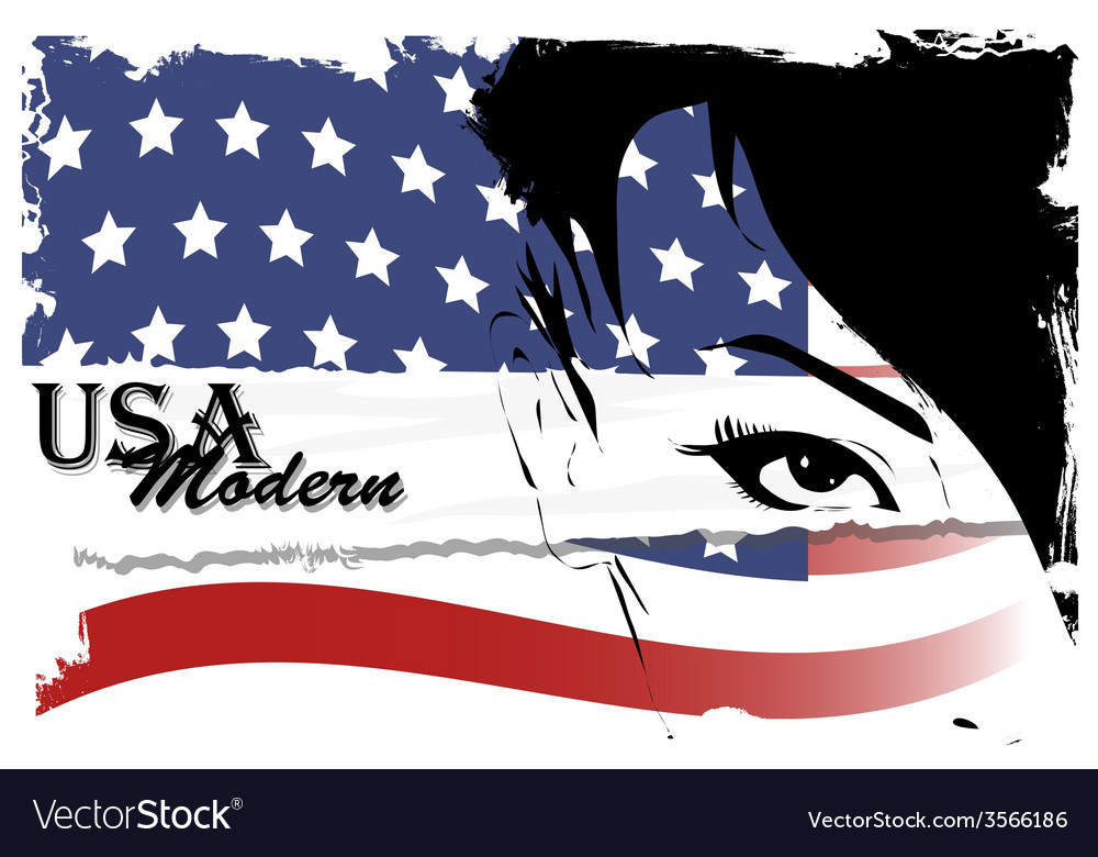 Pretty woman with american flag vector | Price: 1 Credit (USD $1)