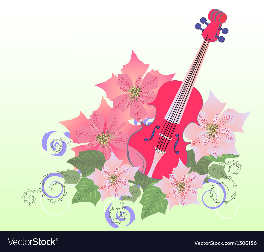 Red violin and poinsettia vector | Price: 1 Credit (USD $1)
