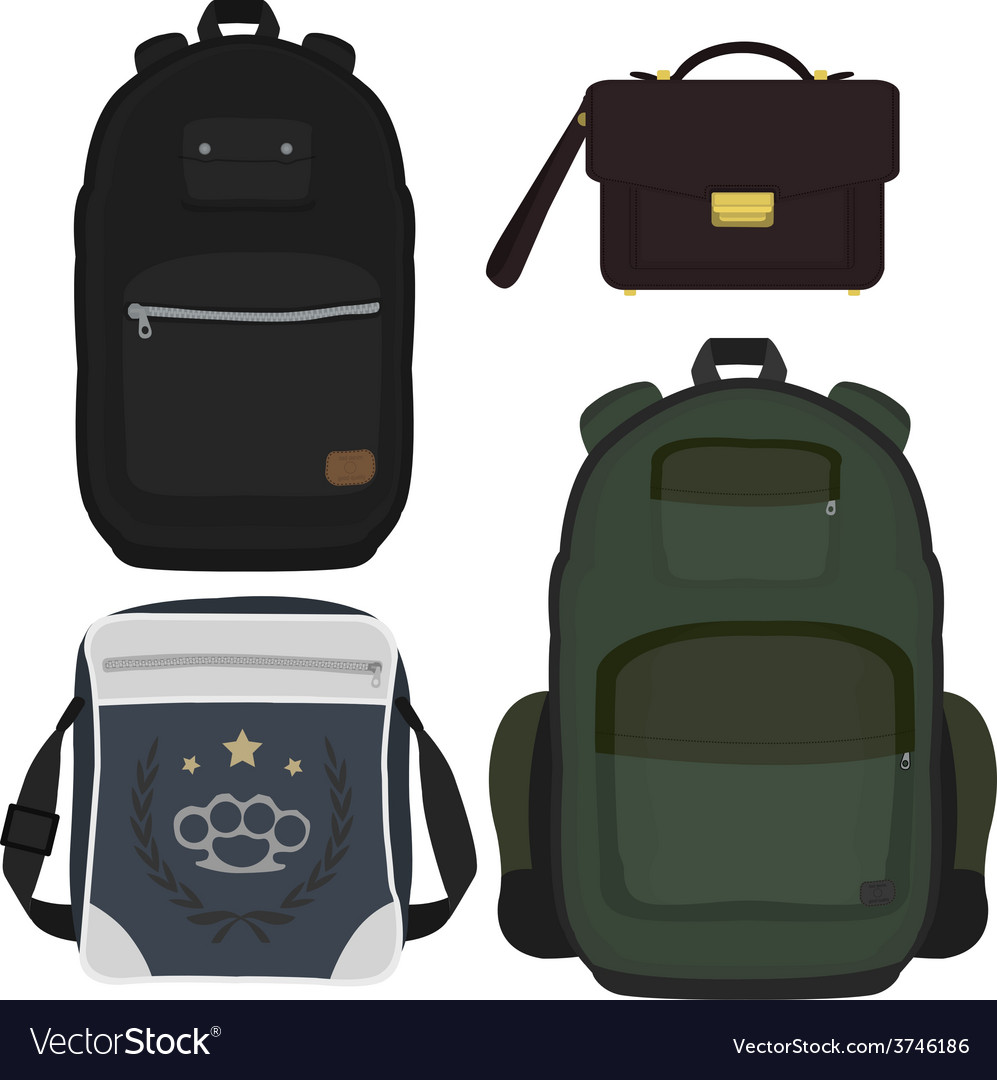 Set of 4 fashionable men bags no outline vector | Price: 1 Credit (USD $1)