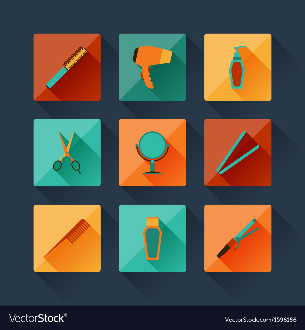 Set of hairdressing icons in flat design style vector | Price: 1 Credit (USD $1)