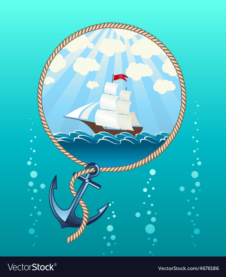 Ship in the sea and anchor vector | Price: 3 Credit (USD $3)