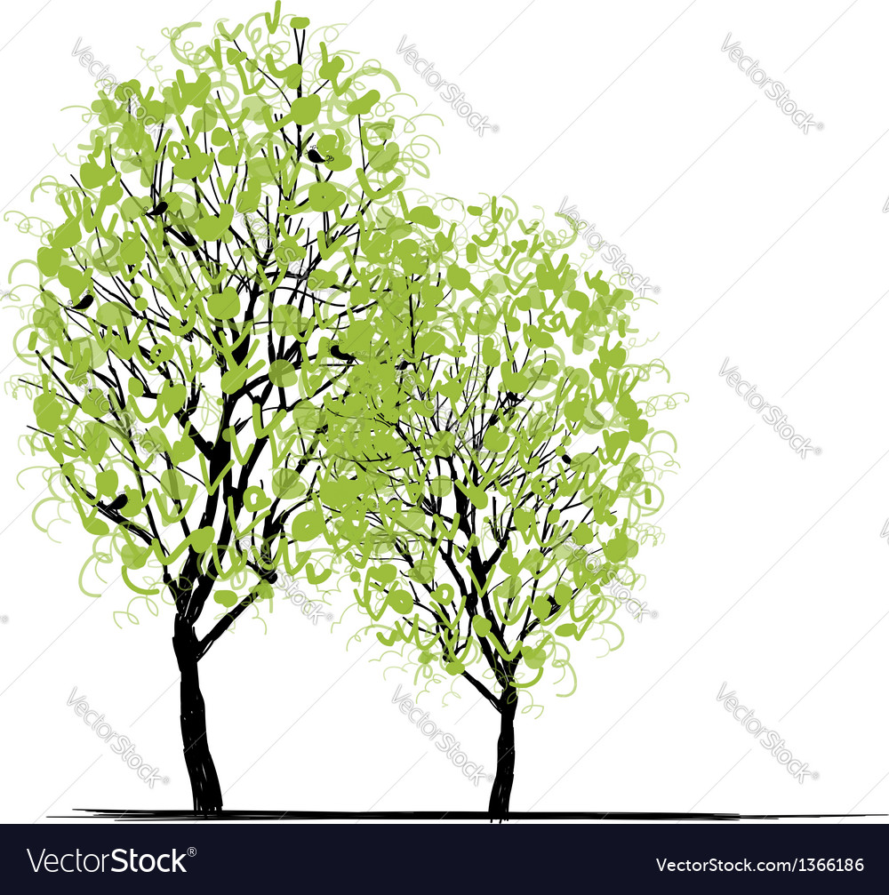 Two spring trees for your design vector | Price: 1 Credit (USD $1)