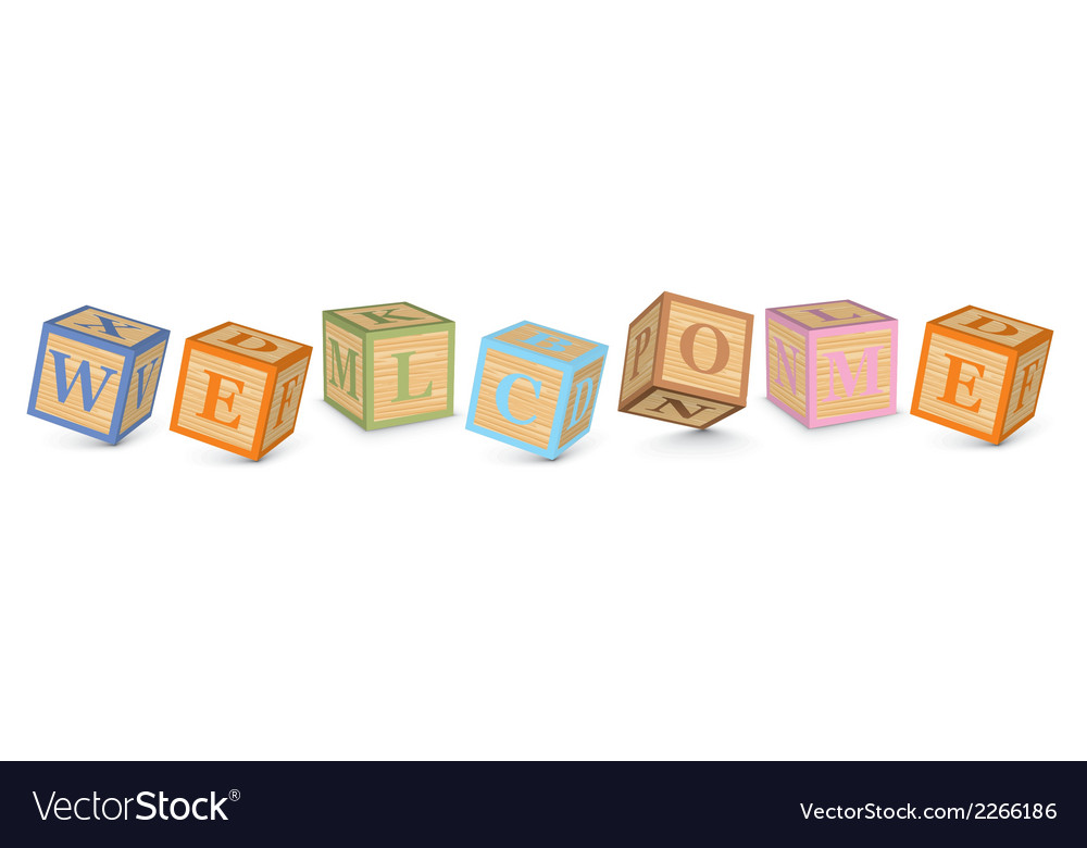 Word welcome written with alphabet blocks vector | Price: 1 Credit (USD $1)