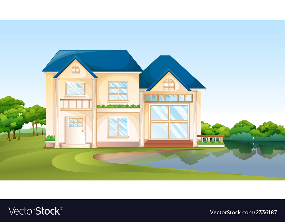 A big house near the lake vector | Price: 3 Credit (USD $3)