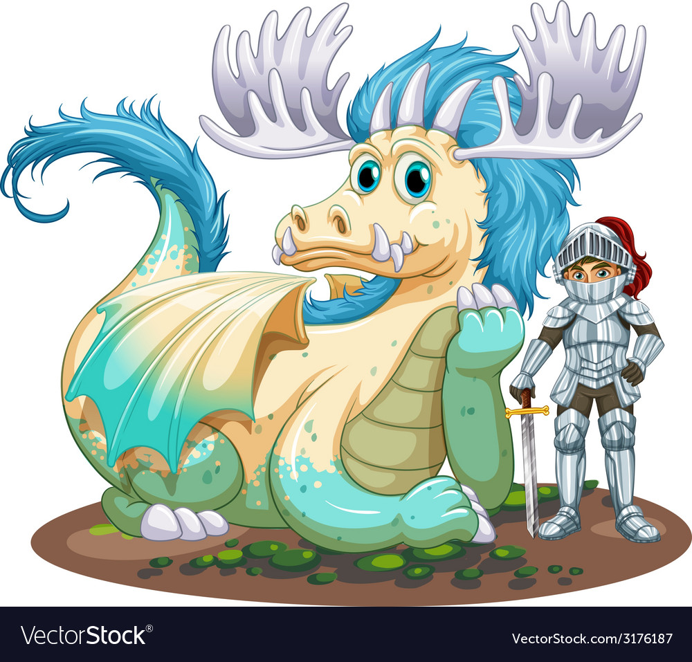 Dragon and knight vector | Price: 1 Credit (USD $1)