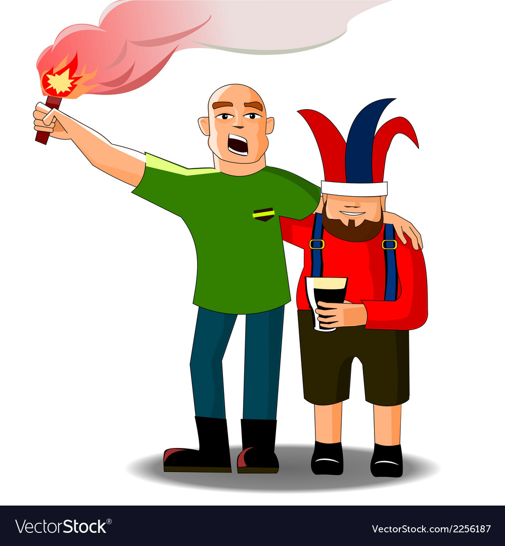 Football fans with fire vector | Price: 1 Credit (USD $1)