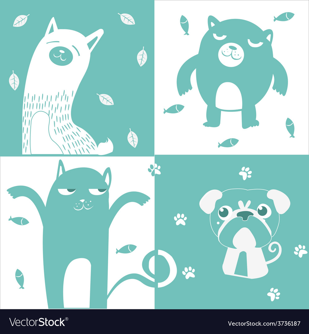 Four animal cute symbol vector | Price: 3 Credit (USD $3)