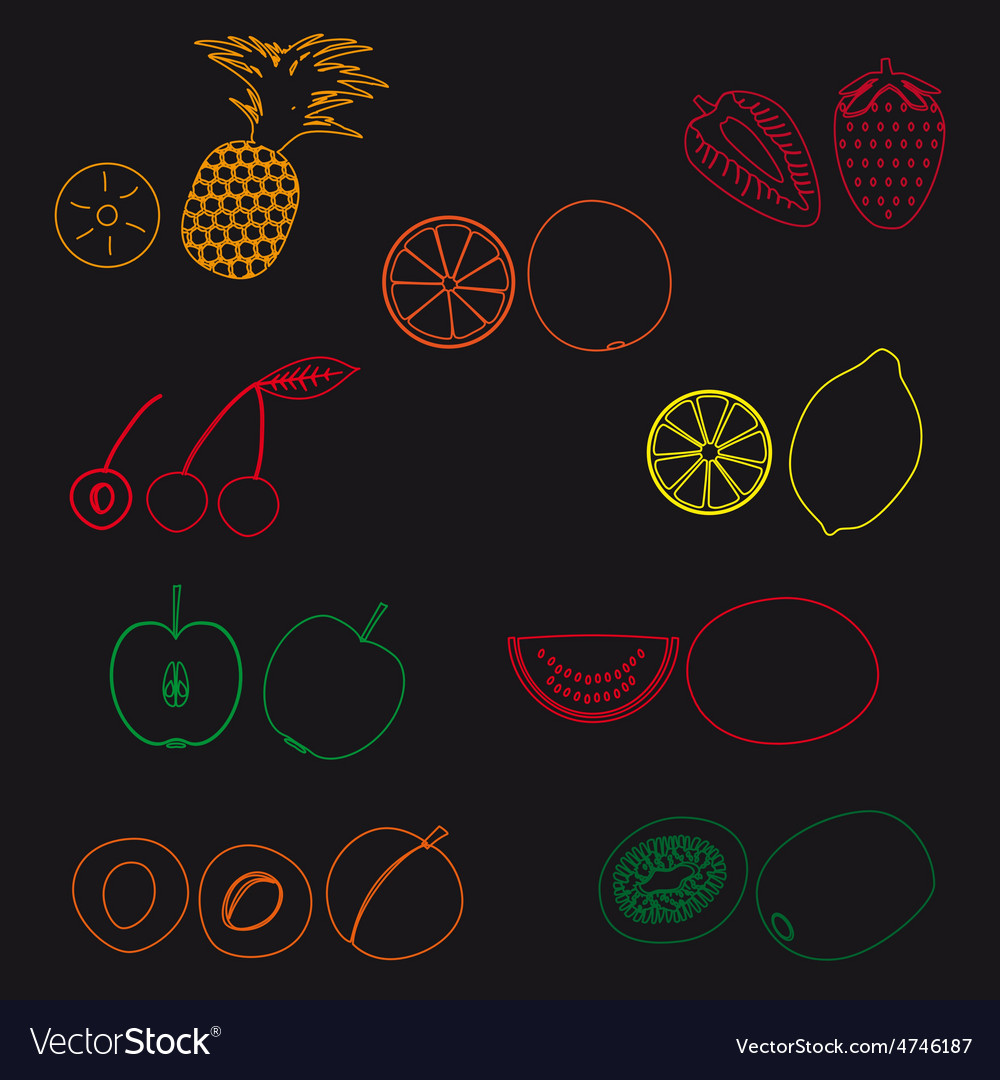 Fruits and half fruits simple outline icons eps10 vector | Price: 1 Credit (USD $1)