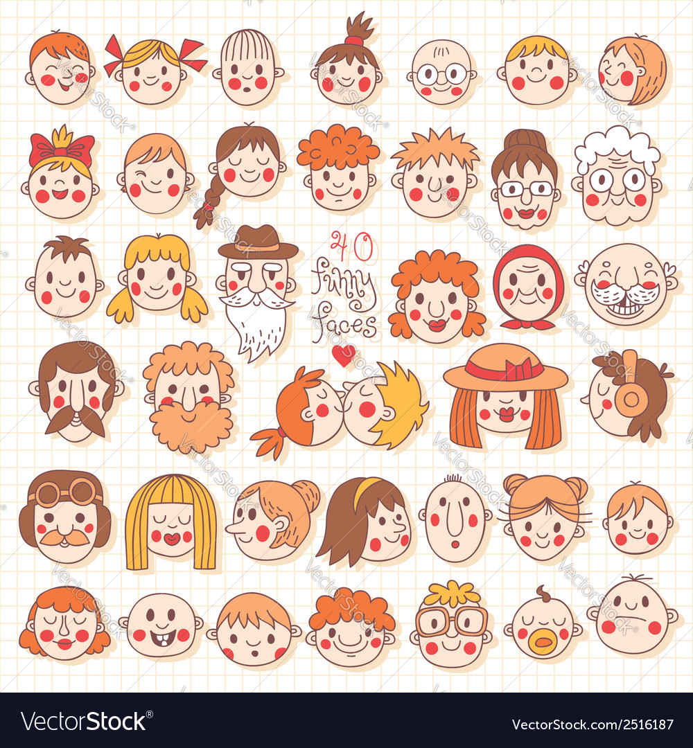 Funny faces vector | Price: 1 Credit (USD $1)