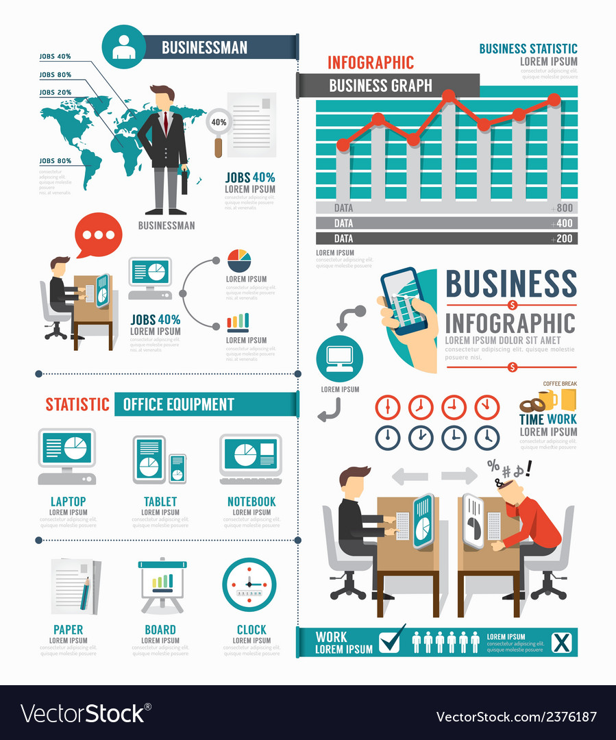 Infographic business world job template design vector | Price: 1 Credit (USD $1)