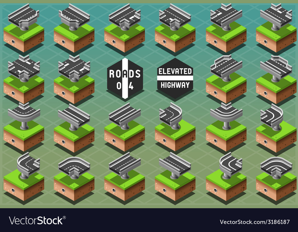 Isometric elevated highway on green terrain vector | Price: 1 Credit (USD $1)