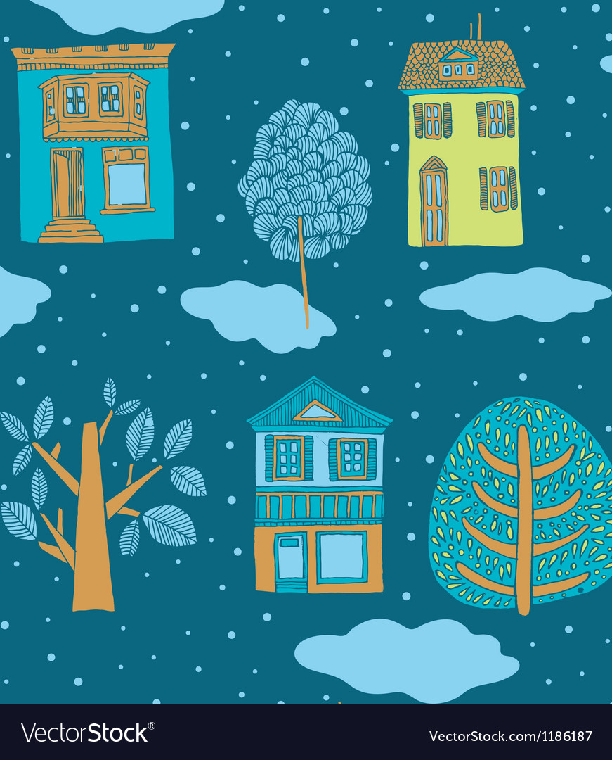Little town in winter seamless background vector | Price: 1 Credit (USD $1)
