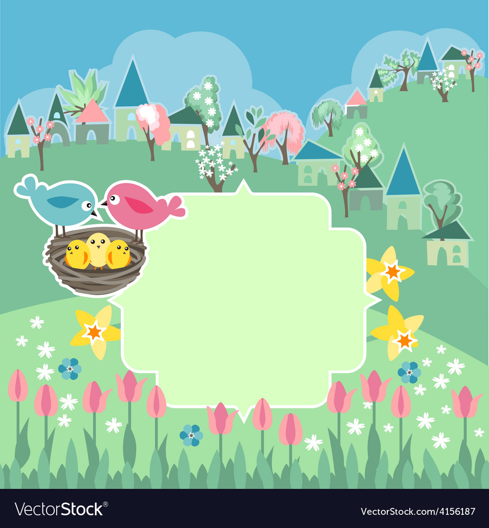 Meadow with spring flowers and birds vector | Price: 1 Credit (USD $1)