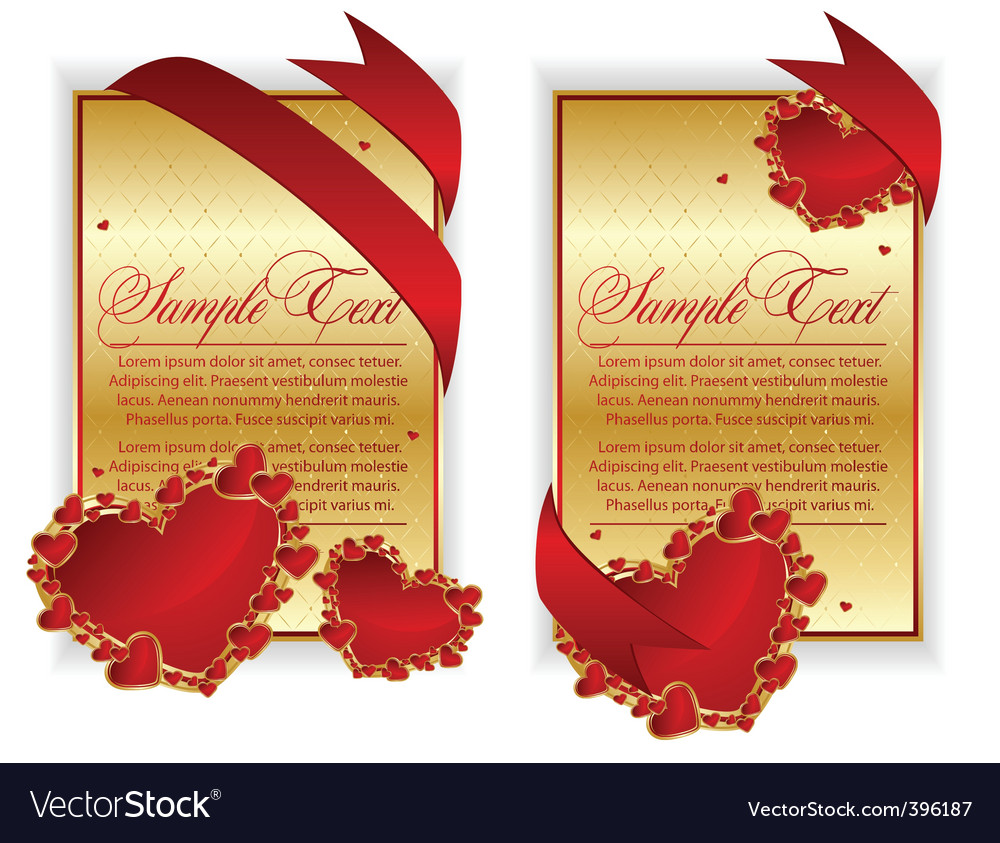 Red hearts banner vector | Price: 1 Credit (USD $1)