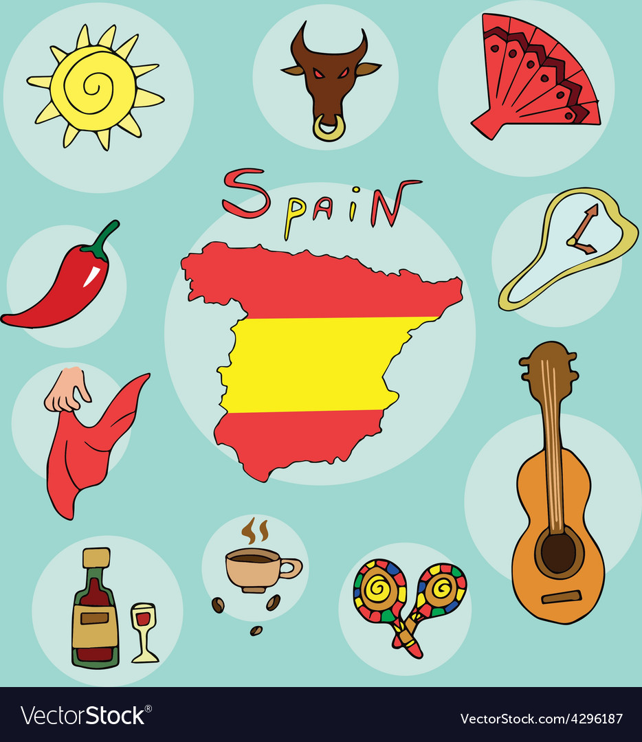 Set of national profile of the spain vector | Price: 1 Credit (USD $1)